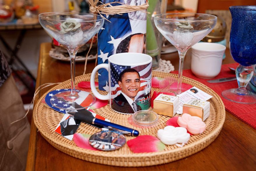 In this Thursday, Dec. 20, 2012, photo, items that will be presented to guests during the inauguration of President Barack Obama are seen inside Aunt Bea's Little White House B&B, in Washington, the six-room bed and breakfast in Northeast Washington still had two rooms available for the presidential inauguration as of the week before Christmas, with rates starting at $225 a night. (AP Photo/Jacquelyn Martin)