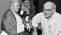 Charles Durning (left, with Elliott Gould and Ed Asner in 1984) was a two-time Oscar nominee dubbed the king of the character actors for his skill in playing everything from a Nazi colonel to the pope to a romantic smitten with a man in drag. (Associated Press)