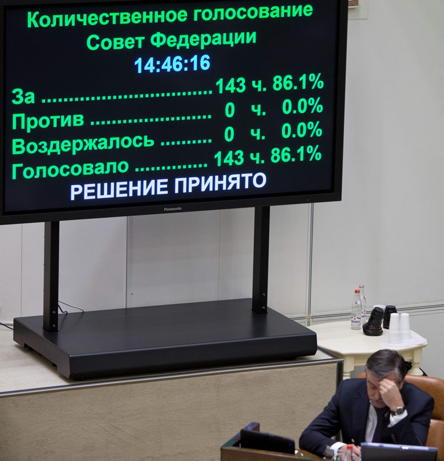 Results of the vote for a bill banning U.S. adoptions of Russian children are displayed on a screen in the Russian parliament's upper chamber in Moscow on Dec. 26, 2012. (Associated Press)