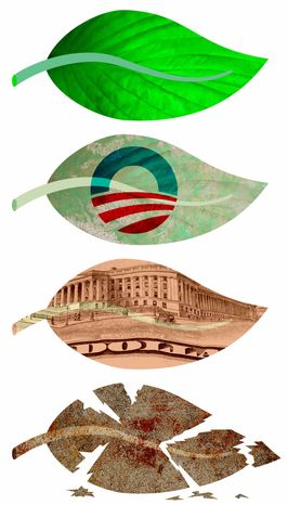 Illustration Obama's Clean Energy by Greg Groesch for The Washington Times