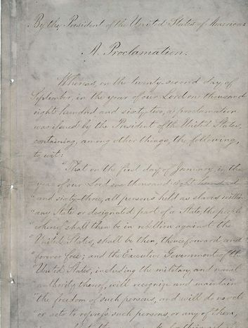 In celebration of the 150th anniversary of the Emancipation Proclamation, the National Archives will display the original document for a limited engagement beginning Sunday.