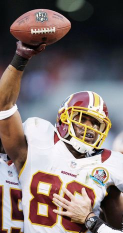 Washington Redskins wide receiver Pierre Garcon, shown against Cleveland on Dec. 16, has 33 catches for 434 yards and three touchdowns since returning from a foot injury Nov. 18. (Associated Press)