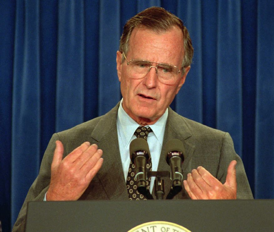President Bush speaks during a news conference in the White House Thursday where he announced that he has asked James A. Baker III to resign as secretary of state and replace Sam Skinner as White House chief of staff. Deputy Secretary of State Lawrence Eagleburger will replace Baker at the state department. (AP Photo/Greg Gibson)