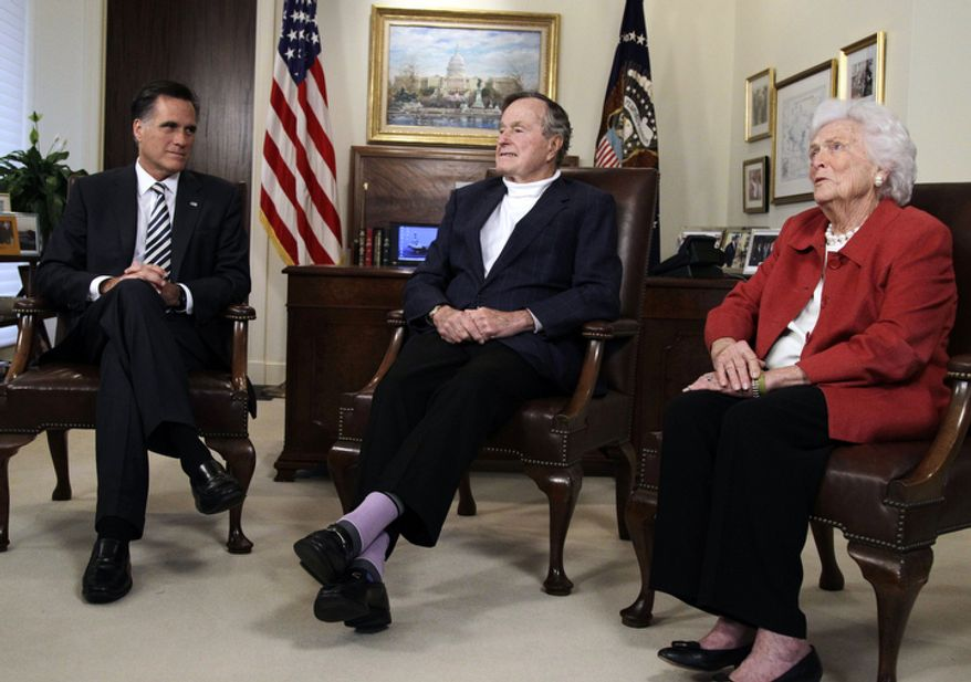 Republican presidential candidate and former Massachusetts Gov. Mitt Romney, left, meets with former President George H.W. Bush and Barbara Bush to receive their endorsements Thursday, March 29, 2012, in Houston. (AP Photo/Pat Sullivan)