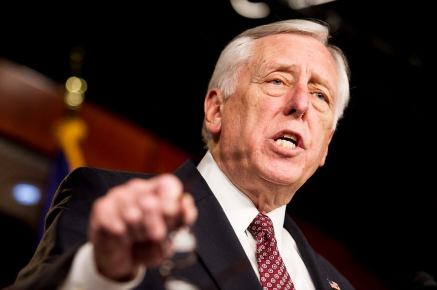 **FILE** House Minority Whip Steny H. Hoyer, Maryland Democrat, holds a press conference at the U.S. Capitol in Washington on Thursday, Dec. 27, 2012, to call on House Speaker John A. Boehner, Ohio Republican, to bring the House back into session immediately to work on the fiscal cliff. (Andrew Harnik/The Washington Times)