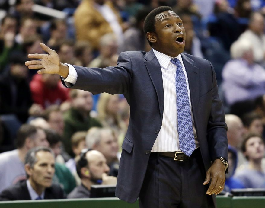 Brooklyn Nets head coach Avery Johnson reacts to a call during the first half of an NBA basketball game against the Milwaukee Bucks on Wednesday, Dec. 26, 2012, in Milwaukee. (AP Photo/Morry Gash)