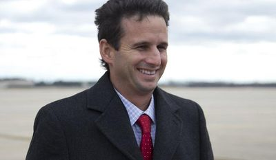Hawaii's newest senator, Brian Schatz, who was the state's lieutenant governor, smiles as he talks with reporters on the apron after deplaning from Air Force One on Thursday, Dec. 27, 2012, at Andrews Air Force Base, Md. Hawaii Gov. Neil Abercrombie appointed Mr. Schatz to the post Wednesday to replace the late Sen. Daniel Inouye. (AP Photo/Carolyn Kaster)