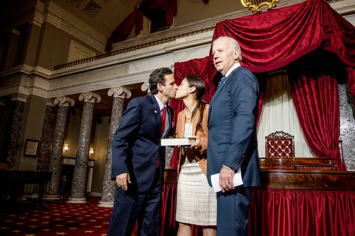 Brian Emanuel Schatz (D-Hawaii), kisses his wife, Linda, after re-enacting his swearing in ceremony with Vice President Joe Biden inside the old Senate Chamber at the U.S. Capitol Building, Washington, D.C., Thursday, December 27, 2012. Schatz, who was the Lt. Gov. for Hawaii was selected by Hawaii Gov. Neil Abercrombie to the U.S. Senate seat left vacant by the late Daniel K. Inouye. (Andrew Harnik/The Washington Times)