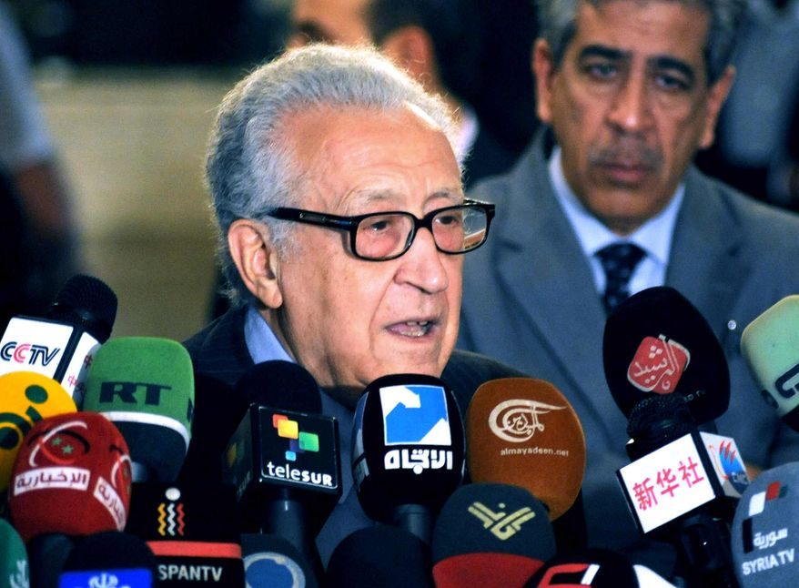 In this photo released by the Syrian official news agency SANA, U.N. Arab League deputy to Syria, Lakhdar Brahimi, speaks during a press conference in Damascus, Syria, Thursday, Dec. 27, 2012. (AP Photo/SANA)