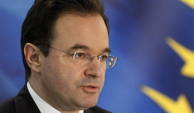 **FILE** Greek Finance Minister George Papaconstantinou talks to the media during a press conference on May 2, 2010, in Athens. (Associated Press)