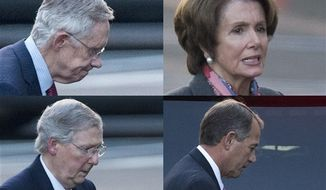** FILE ** This combination of photographs shows Senate Majority Leader Harry Reid of Nevada, House Minority Leader Nancy Pelosi of California, Senate Minority Leader Mitch McConnell of Kentucky and House Speaker John Boehner of Ohio as they leave the White House separately in Washington, Friday, Dec. 28, 2012, after a closed-door meeting between President Barack Obama and congressional leaders to negotiate the framework for a deal on the fiscal cliff. (AP Photo/Evan Vucci)