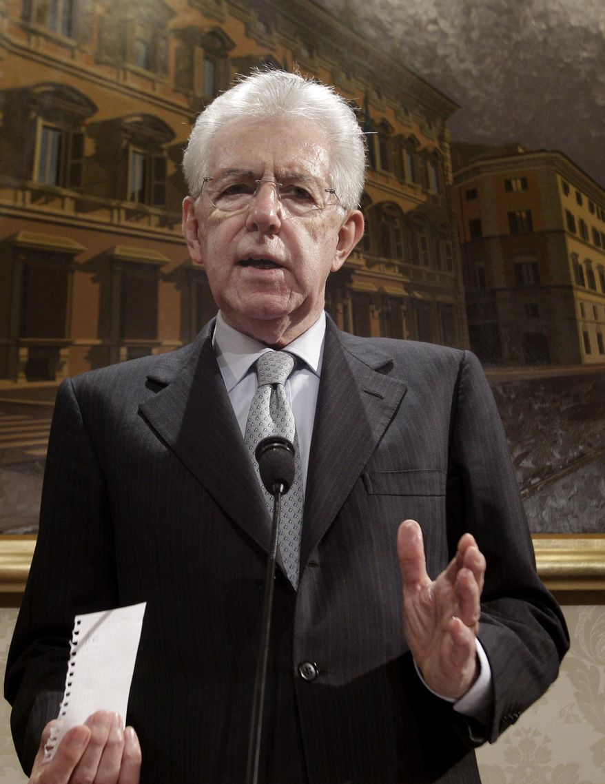Italian Premier Mario Monti speaks during a press conference at the Italian Senate in Rome on Dec. 28, 2012. Monti announced he is heading a new campaign coalition made of up centrists, businessmen and pro-Vatican forces, paving the way for his possible return to office if it wins enough seats in February parliamentary elections. (Associated Press)
