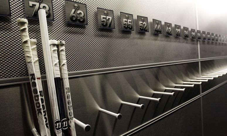 **FILE** A nearly empty hockey stick rack in the locker room of the Buffalo Sabres hockey team is seen Sept. 25, 2012,  in Buffalo, N.Y., during the NHL labor lockout. (Associated Press)