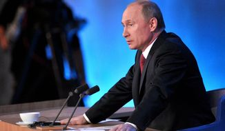 **FILE** Russian President Vladimir Putin speaks during a news conference in Moscow on Dec. 20, 2012. (Associated Press/RIA Novosti, Alexei Nikolsky, Presidential Press Service)