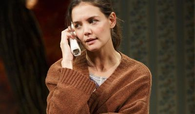 """This undated publicity photo provided by Boneau/Bryan-Brown shows Katie Holmes as Lorna in a scene from """"Dead Accounts,"""" by Theresa Rebeck, at Broadway's Music Box theatre in New York. (Associated Press/Boneau/Bryan-Brown)"""