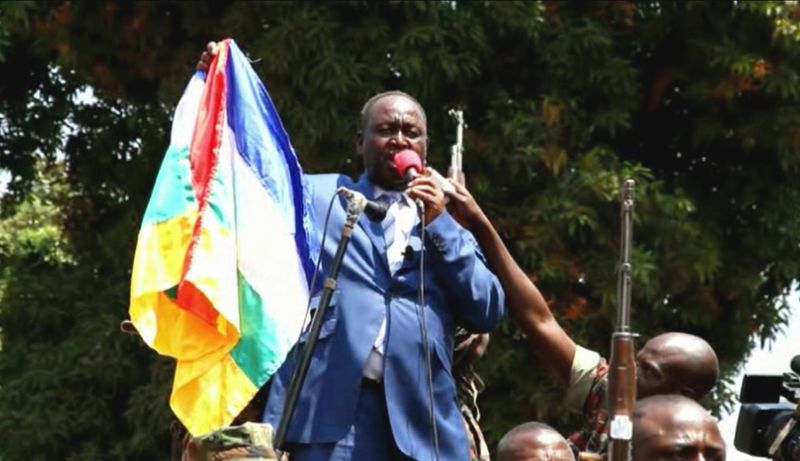 In this frame grab taken from APTN footage from Thursday, Dec. 27, 2012, President Francois Bozize addresses crowds, in Bangui, Central African Republic. (AP Photo/APTN)