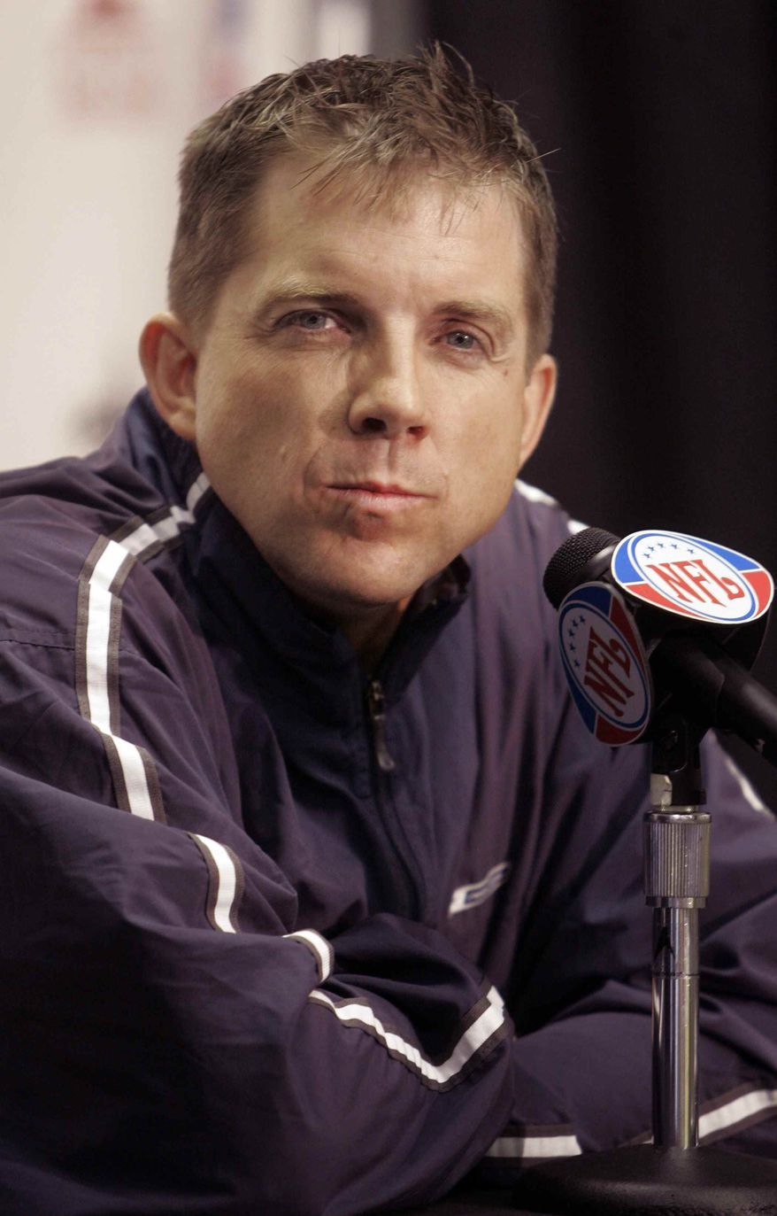 ** FILE ** This Jan. 15, 2007, file photo shows New Orleans Saints football coach Sean Payton listening to a question at a news conference in New Orleans. The suspended New Orleans Saints head coach has agreed in principle to a multiyear contract extension, according to two people familiar with the deal on Friday Dec. 28, 2012. (AP Photo/Bill Haber, File)