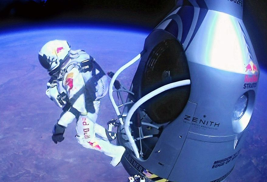 Felix Baumgartner made a successful free-fall jump from outer space. (Associated Press)