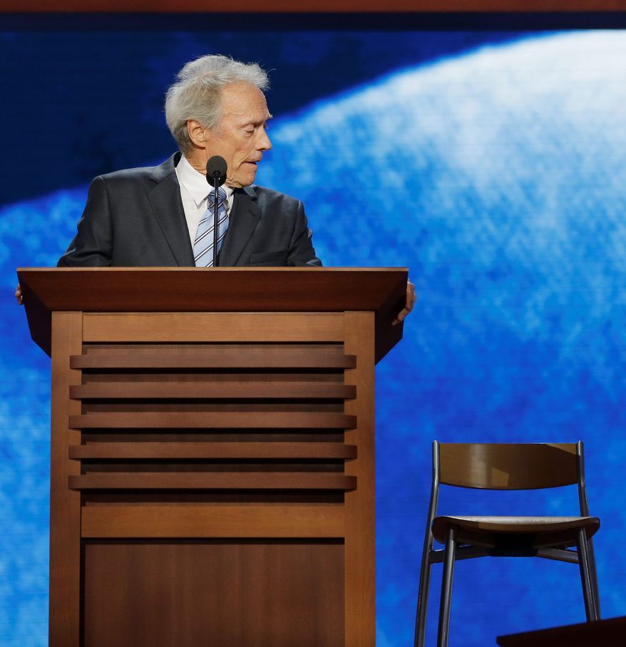 At times funny, at other times puzzling, actor-director Clint Eastwood addressed an imaginary President Obama sitting in a chair during an appearance at the Republican National Convention. (Associated Press)