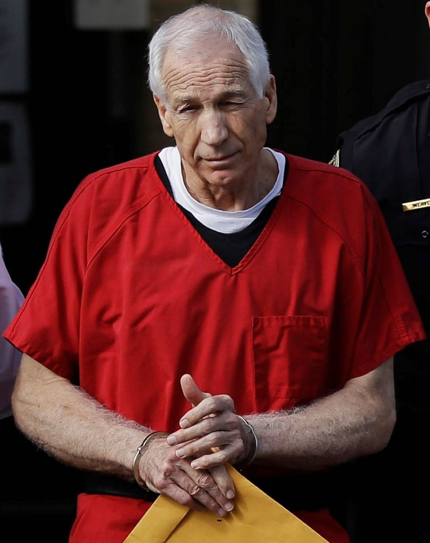Longtime Penn State defensive coordinator Jerry Sandusky was convicted of 45 counts of sexual abuse and will serve 30 to 60 years in prison. (Associated Press)