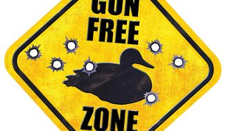 Illustration Gun Free Zone by Greg Groesch for The Washington Times