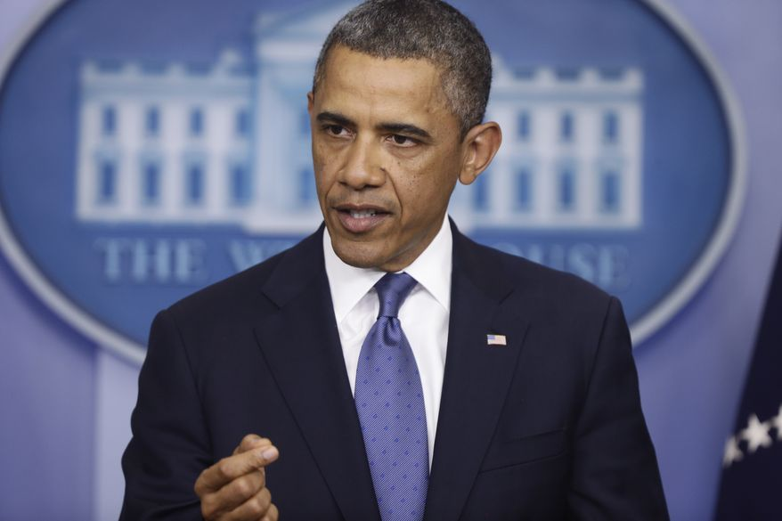 "President Obama speaks to reporters in the Brady Press Briefing Room at the White House in Washington after meeting with congressional leaders regarding the ""fiscal cliff"" on Friday, Dec. 28, 2012. (AP Photo/Charles Dharapak)"