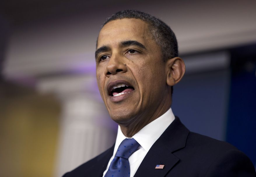 """President Obama delivers a statement on the """"fiscal cliff"""" negotiations with congressional leaders in the briefing room of the White House on Friday, Dec. 28, 2012, in Washington. The negotiations are a last-ditch effort to avoid across-the-board first-of-the-year tax increases and deep spending cuts. (AP Photo/Evan Vucci)"""