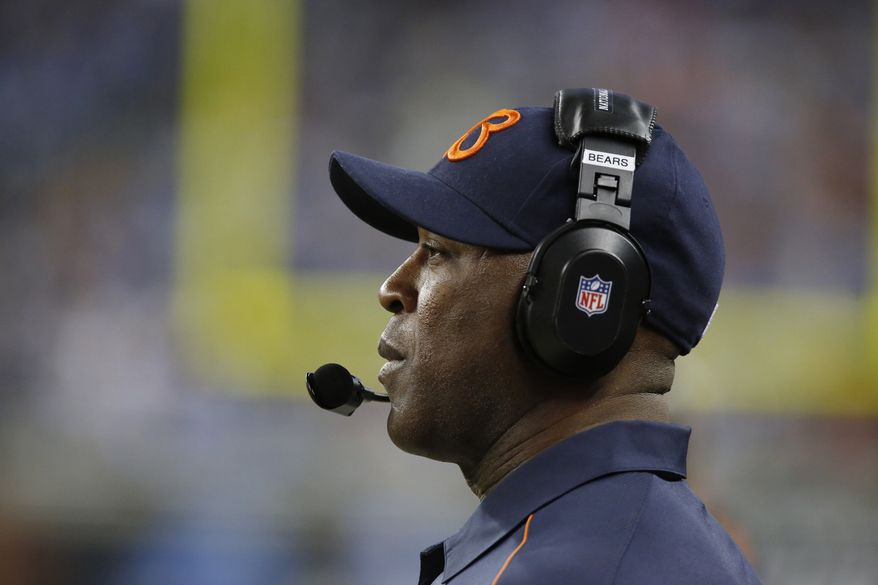 Chicago Bears head coach Lovie Smith watches from the sidelines during the third quarter of the Bears' 26-24 win against the Detroit Lions at Ford Field in Detroit on Dec. 30, 2012. (Associated Press)