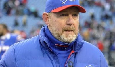 **FILE** Buffalo Bills head coach Chan Gailey walks off the field Dec. 30, 2012, after his team's 28-9 win over the New York Jets in Orchard Park, N.Y. (Associated Press)