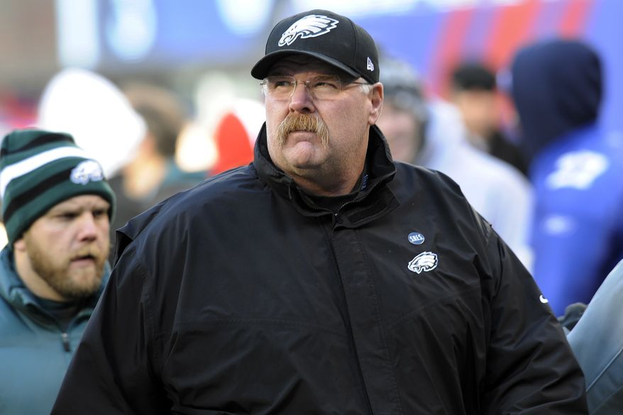 Philadelphia Eagles head coach Andy Reid walks on the field before the Eagles' 42-7 loss against the New York Giants on Dec. 30, 2012, in East Rutherford, N.J. (Associated Press)