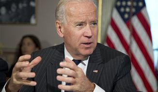 Vice President Joseph R. Biden speaks during a meeting at the Eisenhower Executive Office Building in the White House complex on Dec. 20, 2012. (Associated Press)