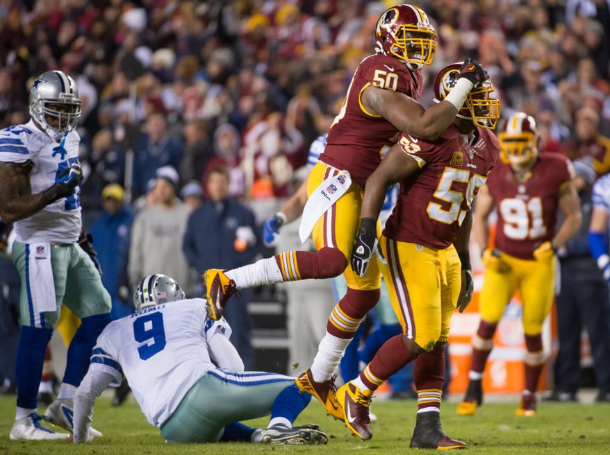 Washington Redskins outside linebacker Rob Jackson (50), center, celebrates as Dallas Cowboys quarterback Tony Romo (9) is sacked by Washington Redskins inside linebacker London Fletcher (59), right, in the first quarter at FedEx Field, Landover, Md., Sunday, Dec. 30, 2012. (Andrew Harnik/The Washington Times)