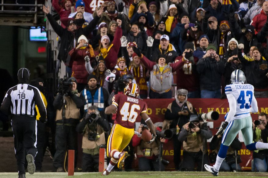 Washington Redskins running back Alfred Morris (46) scores on a 17-yard run in the second quarter at FedEx Field, Landover, Md., Sunday, Dec. 30, 2012. (Andrew Harnik/The Washington Times)