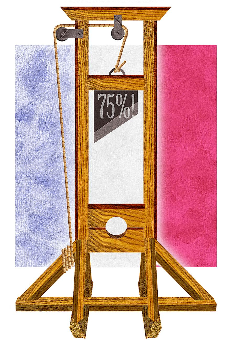 Illustration Supertax by Alexander Hunter for The Washington Times