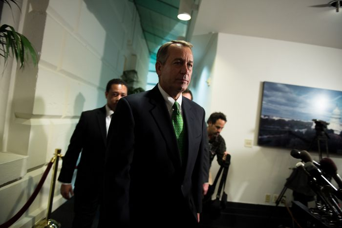 """House Speaker John A. Boehner leaves a GOP caucus meeting on """"fiscal cliff"""" legislation at the U.S. Capitol in Washington on Tuesday, Jan. 1, 2013. (Andrew Harnik/The Washington Times)"""