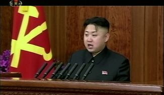 North Korean leader Kim Jong-un gives his first New Year's Day address in Pyongyang, North Korea, on Tuesday, Jan. 1, 2013. Mr. Kim called for his country to focus on economic improvements with the same urgency that scientists put into the launch of a long-range rocket last month. (AP Photo/KRT via AP Video)