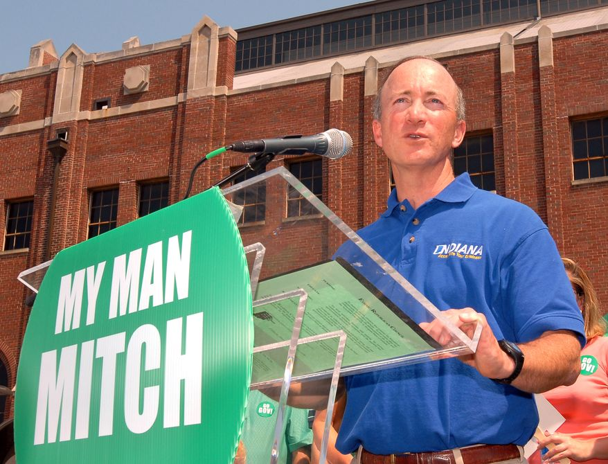 Indiana Gov. Mitch Daniels announces his re-election bid at a campaign fair outside Butler University's storied Hinkle Fieldhouse in Indianapolis on June 16, 2007. (AP Photo/Tom Strickland)