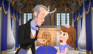 "The royal steward Baileywick (left), voiced by Tim Gunn, advises Princess Sofia, voiced by Ariel Winter, how to act and dress as a royal in the animated ""Sofia the First"" from Disney. (AP Photo/Disney Junior)"