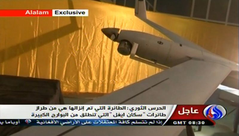 "**FILE** This image taken from the Iranian state TV's Arabic-language channel Al-Alam, shows what is purported to be an intact ScanEagle drone aircraft in an exclusive broadcast on Dec. 4, 2012. Iran authorities claimed it had captured a U.S. drone after it entered Iranian airspace over the Persian Gulf and showed the image of a purportedly downed craft on state TV, but the U.S. Navy said all its unmanned aircraft in the region were ""fully accounted for."" (Associated Press/Al-Alam TV)"