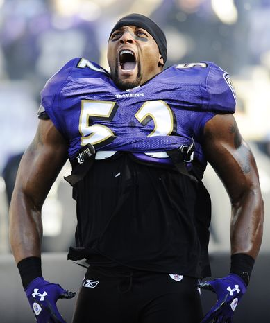 ADVANCE FOR WEEKEND EDITIONS, DEC. 15-16 - FILE - In this Jan. 15, 2012, file photo, Baltimore Ravens inside linebacker Ray Lewis reacts to his introduction before an NFL divisional playoff football game against Houston Texans in Baltimore. (AP Photo/Nick Was