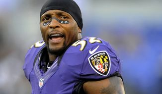 "FILE - This Sept. 10, 2012 file photo shows Baltimore Ravens linebacker Ray Lewis wearing eye black showing the initials of former Ravens owner Art Modell before an NFL football game against the Cincinnati Bengals in Baltimore. Lewis will end his brilliant 17-year NFL career after the Ravens complete their 2013 playoff run.  ""I talked to my team today,"" Lewis said Wednesday, Jan. 2, 2013. ""I talked to them about life in general. And everything that starts has an end. For me, today, I told my team that this will be my last ride."" (AP Photo/Nick Wass, FIle)"
