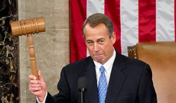 House Speaker John A. Boehner holds the gavel after narrowly being re-elected to lead the U.S. House of Representatives in the 113th Congress on Thursday, Jan. 3, 2013, at the U.S. Capitol in Washington. (Andrew Harnik/The Washington Times)