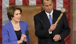 House Minority Leader Nancy Pelosi, California Democrat, applauds after handing the gavel to House Speaker John A. Boehner, Ohio Republican, who was re-elected as House Speaker of the 113th Congress, on Jan. 3, 2013, on Capitol Hill in Washington. (Associated Press)