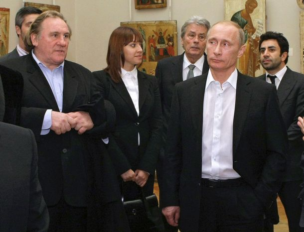 ** FILE ** Russian Prime Minister Vladimir Putin (second from right) and French actor Gerard Depardieu (left) visit the Russian Museum in St. Petersburg in 2010. (AP Photo/RIA Novosti, Alexei Nikolsky, Pool)