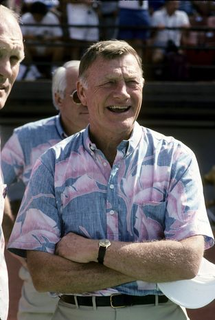 In this image taken Jan. 29, 1989, and released by NFL Photos, Pro Football Hall of Fame director Pete Elliott is shown at the Pro Bowl NFL football game at Aloha Stadium in Honolulu. Elliott, the longest-tenured executive director in the Pro Football Hall of Fame's history, has died on Friday, Jan. 4, 2013, the hall announced. He was 86. (AP Photo/NFL Photos, File)