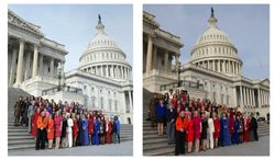 This combo of two photos shows, at left, an Associated Press photo taken Jan. 3, 2013, of House Minority Leader Nancy Pelosi posing with female House members on Capitol Hill in Washington, and at right, a screen grab from Pelosi's Flickr page of an altered photo of Pelosi with female House members on Capitol Hill in Washington. (Associated Press)