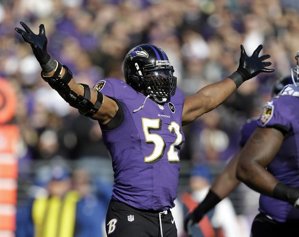 Baltimore Ravens inside linebacker Ray Lewis (52) celebrates after a play during the first half of an NFL wild card playoff football game against the Indianapolis Colts Sunday, Jan. 6, 2013, in Baltimore. (AP Photo/