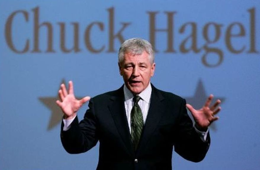 ** FILE ** Then-Sen. Chuck Hagel, Nebraska Republican, speaks during an appearance at Bellevue University in Bellevue, Neb., in 2007. (AP Photo/Nati Harnik)