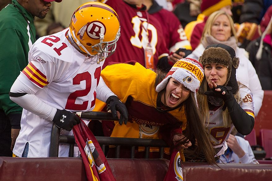 Fans show their emotions before the Washington Redskins play the Seattle Seahawks during the NFC wild card game at FedEx Field, Landover, Md., Sunday, January 6, 2013. (Andrew Harnik/The Washington Times)