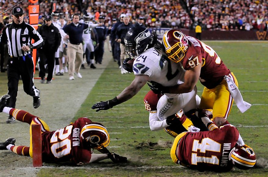 Seattle Seahawks running back Marshawn Lynch (24) scores the go-ahead touchdown on a 27-yard run in the fourth quarter of the NFC wild card game at FedEx Field, Landover, Md., Jan. 6, 2013. (Preston Keres/Special to The Washington Times)